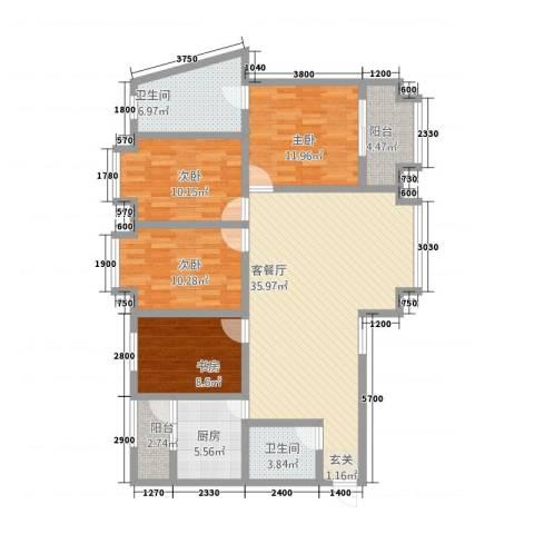 阳光曼哈顿4室1厅2卫1厨116.49㎡户型图