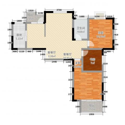 龙居山庄翔龙居3室1厅1卫1厨122.00㎡户型图