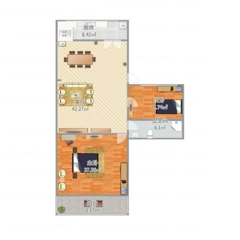 故宫新城2室1厅1卫1厨138.00㎡户型图