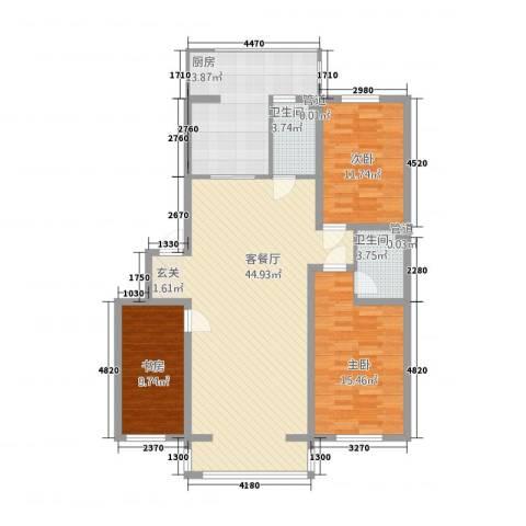 博隆金水湾家园3室1厅2卫1厨132.00㎡户型图