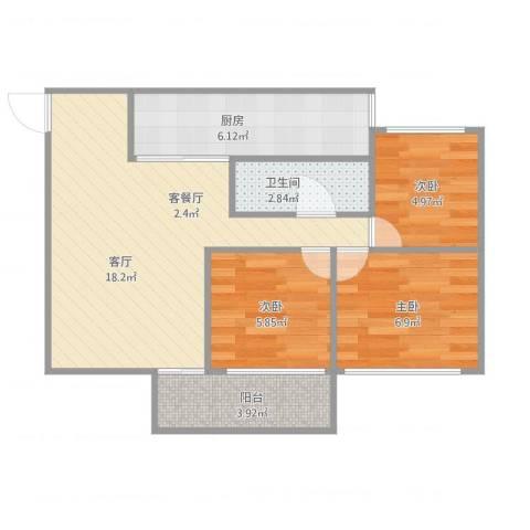 五洲康城3室1厅1卫1厨67.00㎡户型图