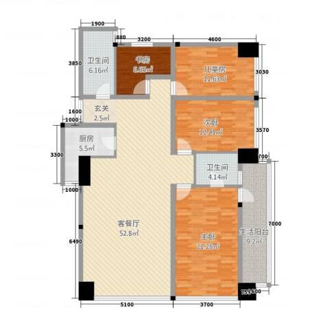 金烨融府4室1厅2卫1厨129.77㎡户型图