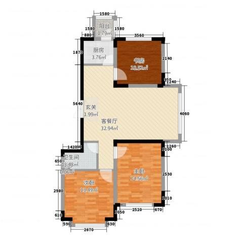 东方万达城3室1厅1卫1厨114.00㎡户型图
