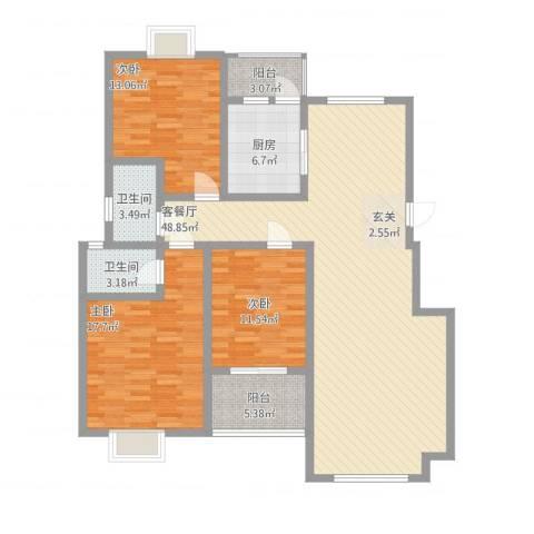 顺达碧海名居3室1厅2卫1厨129.23㎡户型图