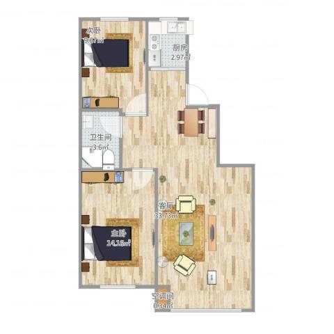 马德里皇家水岸2室1厅1卫1厨86.00㎡户型图