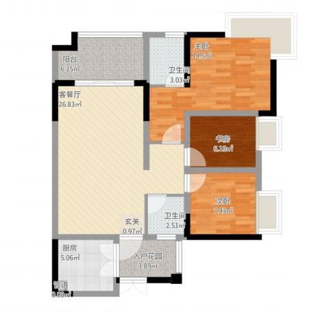 复地城就3室1厅3卫1厨111.00㎡户型图