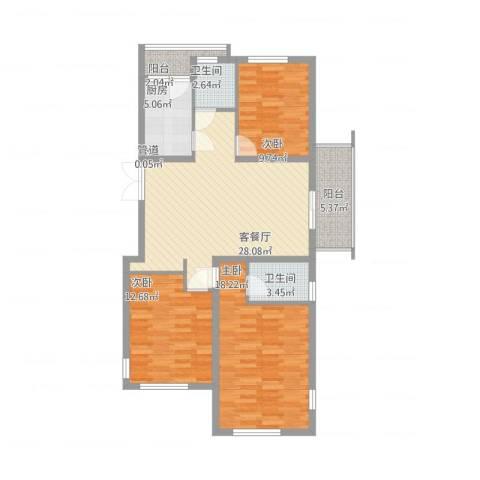 国信上城・学府3室1厅2卫1厨124.00㎡户型图