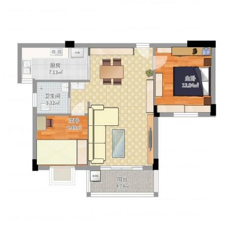 昌润・嘉和苑2室1厅1卫1厨88.00㎡户型图