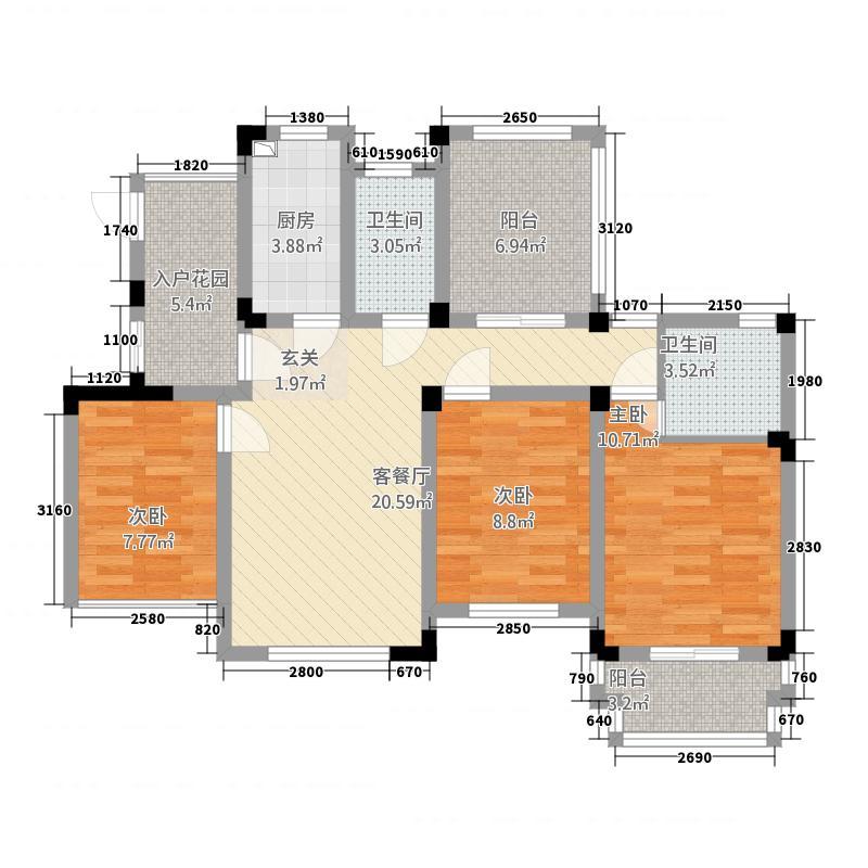 泰和郡110.00㎡二期电梯洋房5F3面积11000m户型
