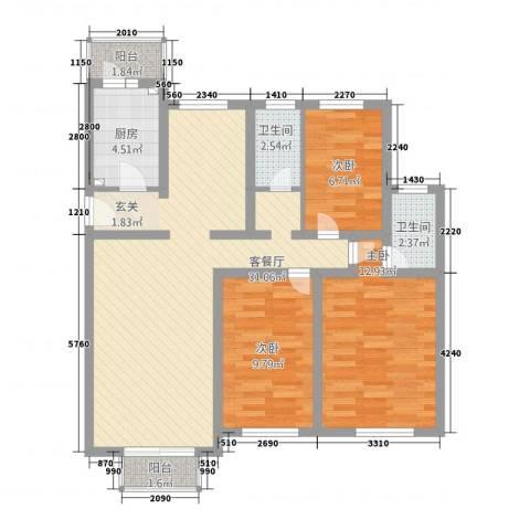 长春都市花园3室1厅2卫1厨108.00㎡户型图