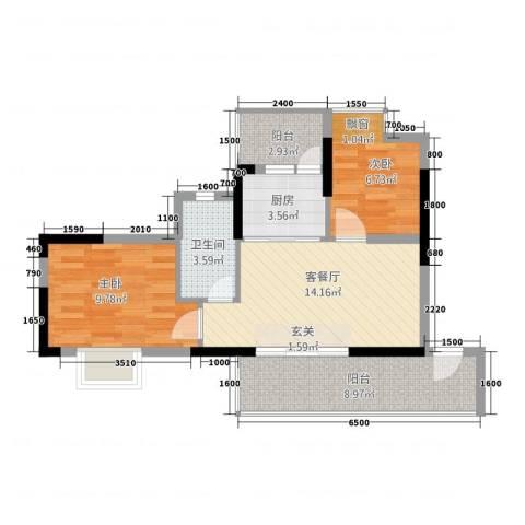 西街苑二期2室1厅1卫1厨49.72㎡户型图