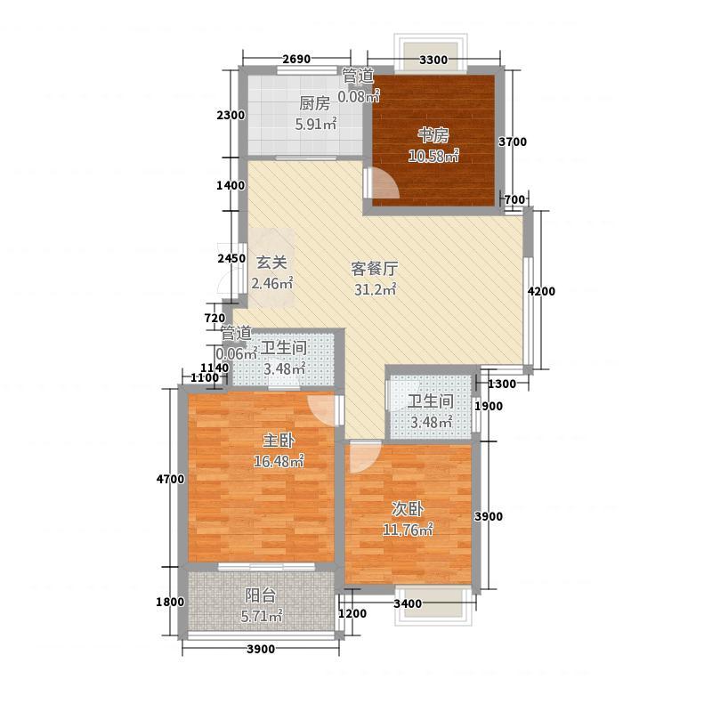 锦绣三门3115.22㎡户型3室2厅2卫1厨