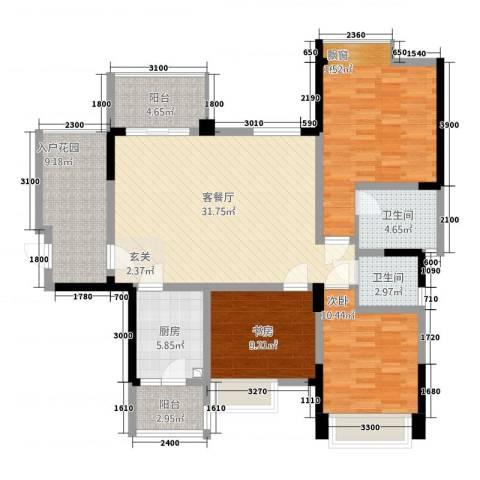 成都合院壹品3室1厅2卫1厨98.37㎡户型图