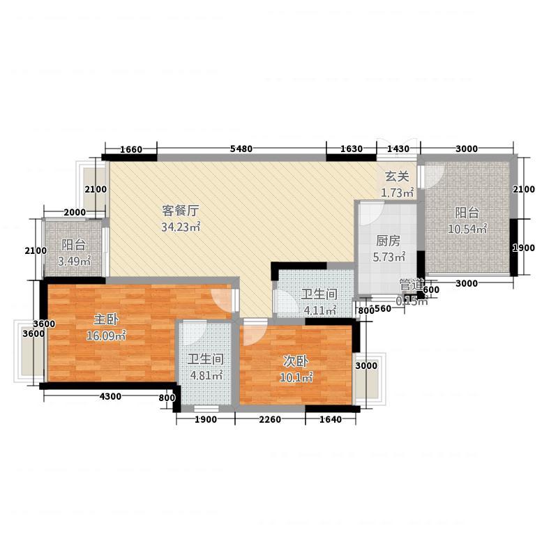 兴隆誉峰11.20㎡七号楼C1a户型2室2厅2卫1厨