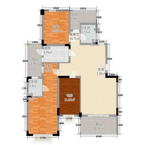 同景国际城香溪迈上3室1厅2卫1厨169.00㎡户型图