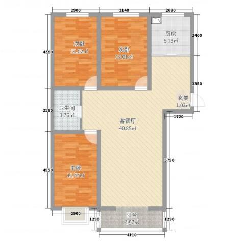 景观花园3室1厅1卫1厨120.00㎡户型图