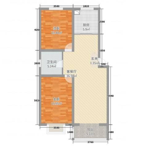 景观花园2室1厅1卫1厨109.00㎡户型图