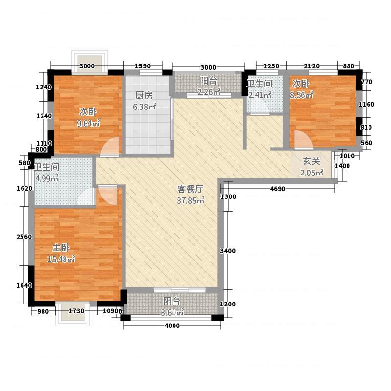 上荷广场127.40㎡A户型3室2厅2卫1厨