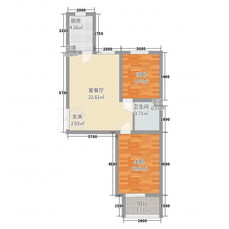 维多利亚夏郡20号楼B1户型2室2厅1卫