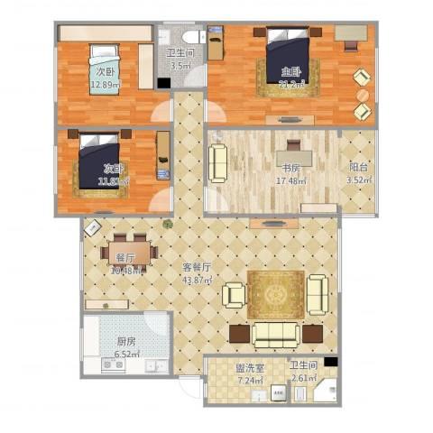 三川花园4室2厅1卫1厨167.00㎡户型图