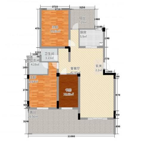 同景国际城香溪迈上3室1厅2卫1厨184.00㎡户型图