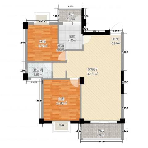 古越扬帆・城市广场2室1厅1卫1厨69.86㎡户型图