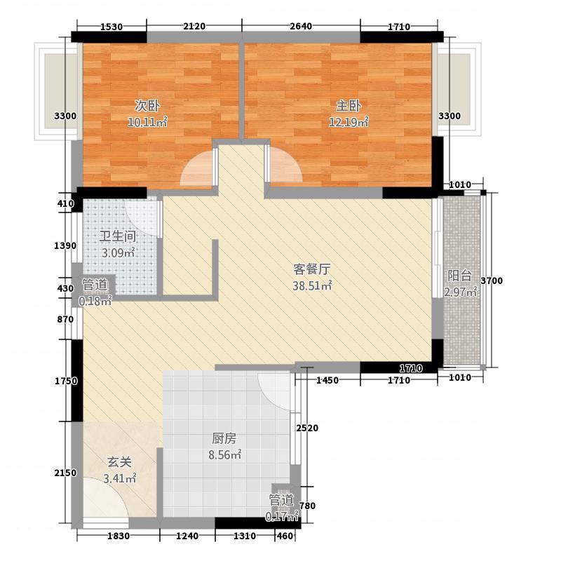 中天万里湘江户型图A3户型 2室2厅1卫1厨