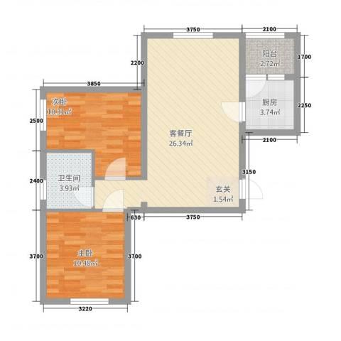 银都海棠花园9号楼2室1厅1卫1厨89.00㎡户型图