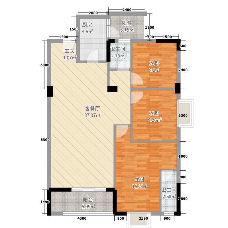 红光银都・智慧城124.00㎡D户型3室2厅2卫1厨