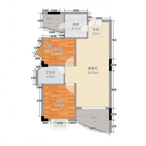 橄榄园2室1厅1卫1厨76.00㎡户型图