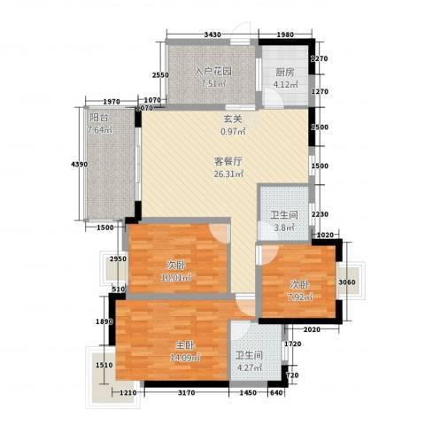 渝阳圣水明珠3室1厅2卫1厨122.00㎡户型图
