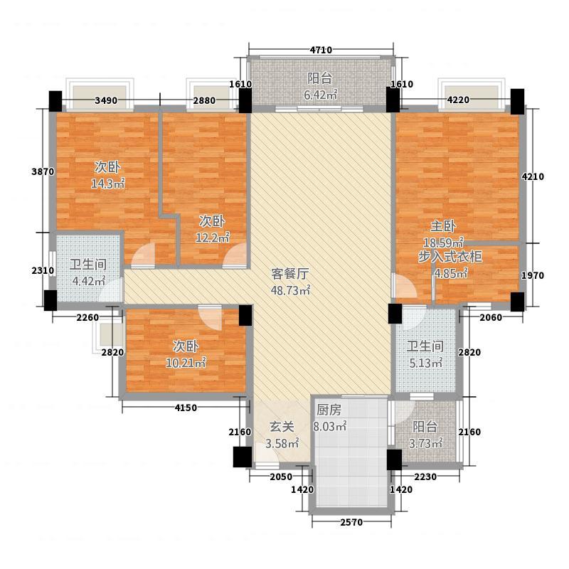 幸福里168.16㎡幸福里户型图4-5栋3-11层B4户型4室2厅2卫1厨户型4室2厅2卫1厨