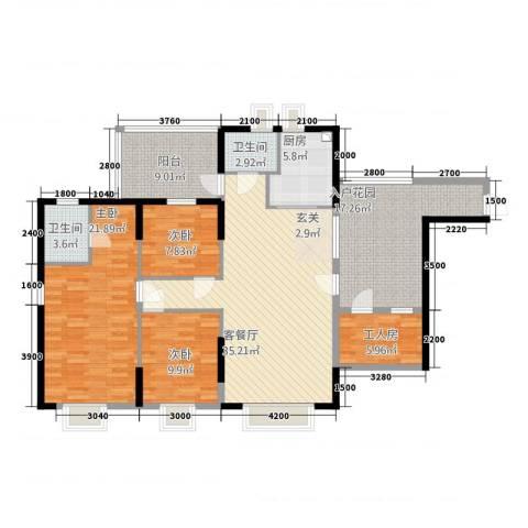 景山一号3室1厅2卫1厨119.37㎡户型图