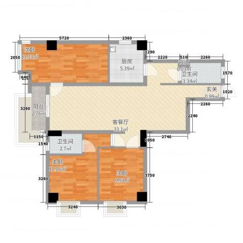 房建大厦3室1厅2卫1厨121.00㎡户型图
