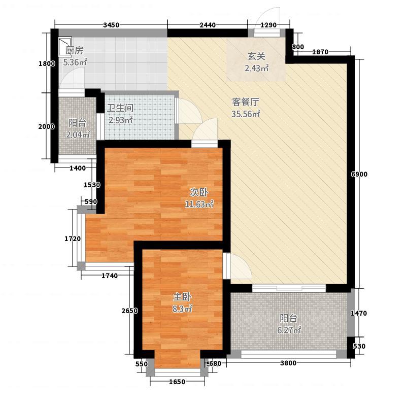 新域盛景81.11㎡D2户型2室2厅1卫1厨
