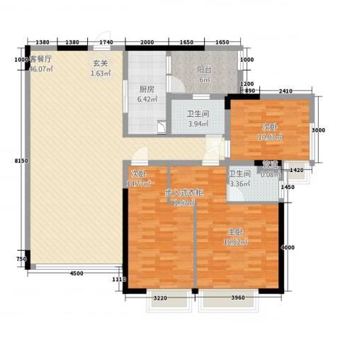 海湾新家园3室1厅2卫1厨174.00㎡户型图