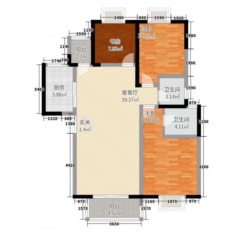 蔚蓝花城127.21㎡21号楼-F2户型3室2厅2卫1厨