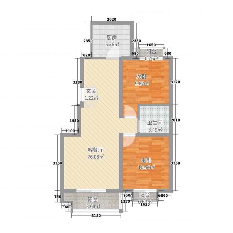 兴业富贵园87.00㎡C户型2室2厅1卫1厨