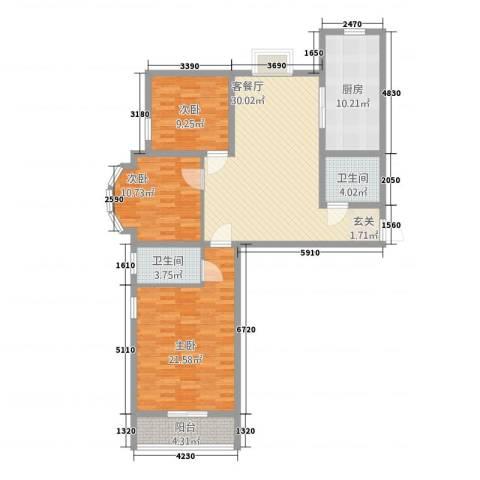 谐趣园3室1厅2卫1厨134.00㎡户型图