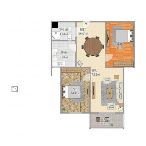 钰泰九龙苑2室1厅1卫1厨104.00㎡户型图