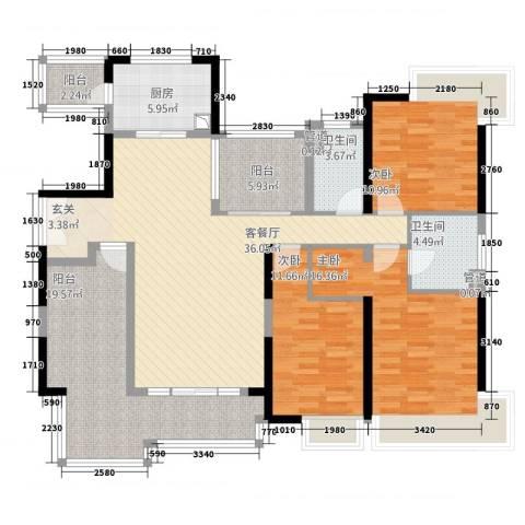 中海文华熙岸3室1厅2卫1厨168.00㎡户型图