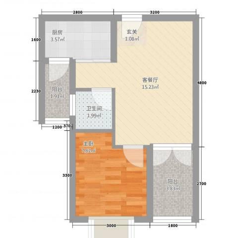 萨菲尔名邸1室1厅1卫1厨51.00㎡户型图