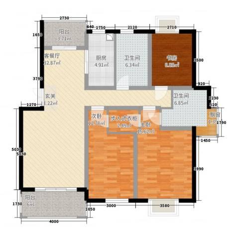 锦书清华里3室1厅2卫1厨143.00㎡户型图