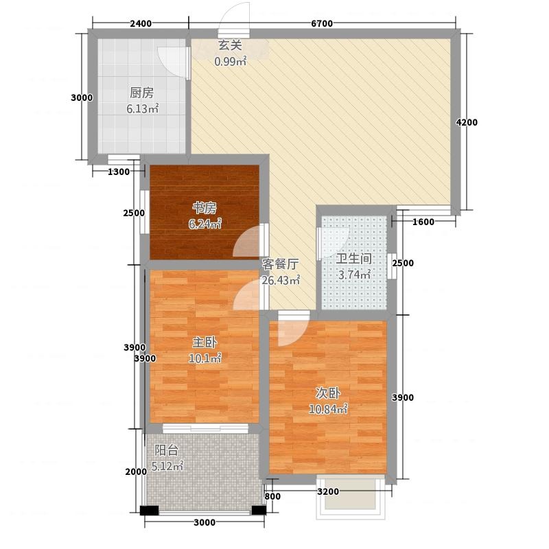 天徽商业广场5.70㎡3#、4#B户型3室2厅1卫1厨