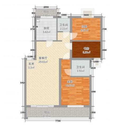 美丽嘉园3室1厅2卫1厨92.00㎡户型图