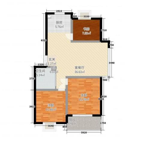 锦书清华里3室1厅1卫0厨119.00㎡户型图