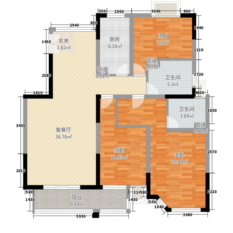中旅蓝岸国际145.00㎡19#02户型3室2厅2卫1厨