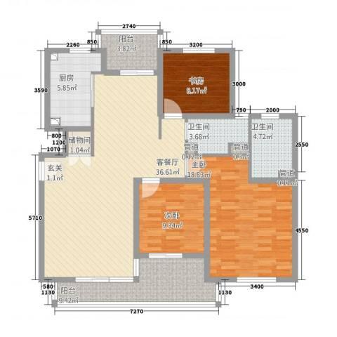 星屿仁恒3室1厅2卫1厨128.00㎡户型图