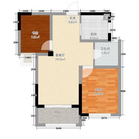 聚怡花园幸福小城2室1厅1卫1厨83.00㎡户型图
