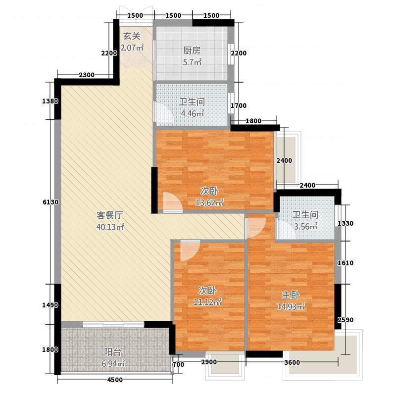 明城大厦户型3室